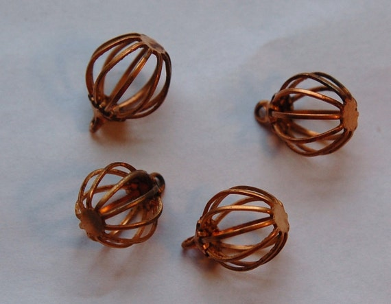Vintage Copper Bead Cage Drops Charms chr119