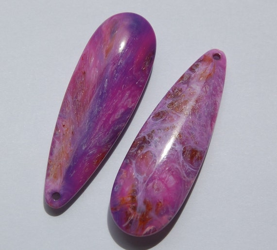 Vintage Pink Purple Marbled Plastic Teardrop Pendants pnd117