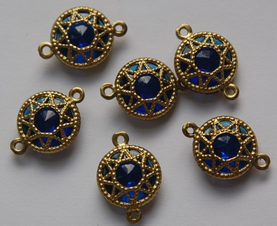 Vintage Sapphire Blue Connector Beads with Neat Brass Frames 13mm (6) chr136A