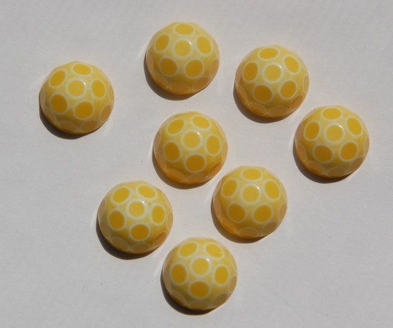 Yellow and White Polka Dot Domed Faceted Cabochons 11mm cab415B