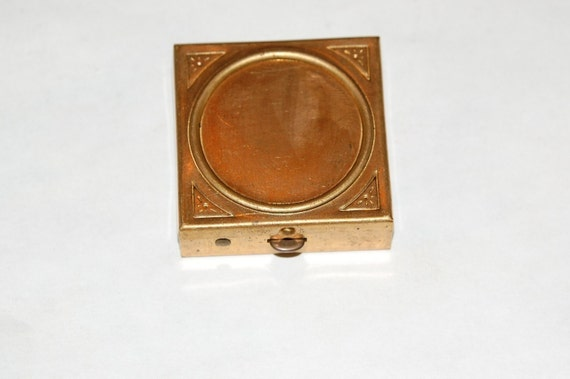 Vintage Raw Brass Pill or Stash Box  with Setting mtl227B