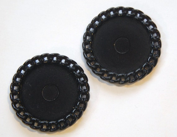 Vintage Black Plastic Round Settings Chain Link Border stp006A