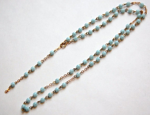 Vintage Czech Unfinished Blue Glass Rosary Chain chn016