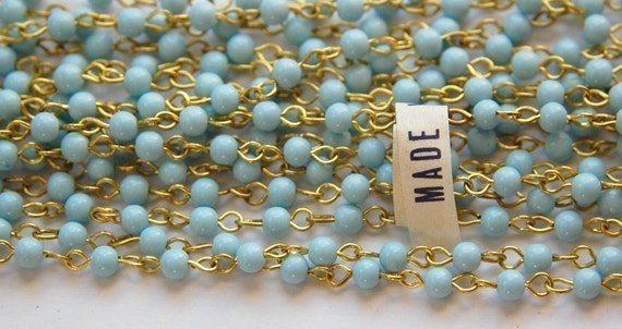Vintage Japan Light Blue Plastic Beaded Chain Gold Links chn020A