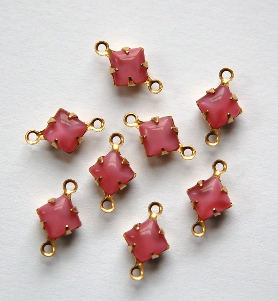 Pink Moonglow Square Glass Stones in 2 Loop Brass Setting 6mm squ001D2
