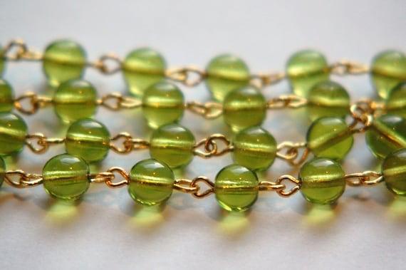Czech Glass 6mm Peridot Green  Beaded Gold Link Chain chn004C
