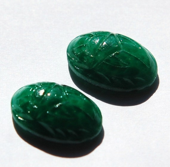 Vintage Green Scarab Glass Cabochons 18x13mm (2) cab319R