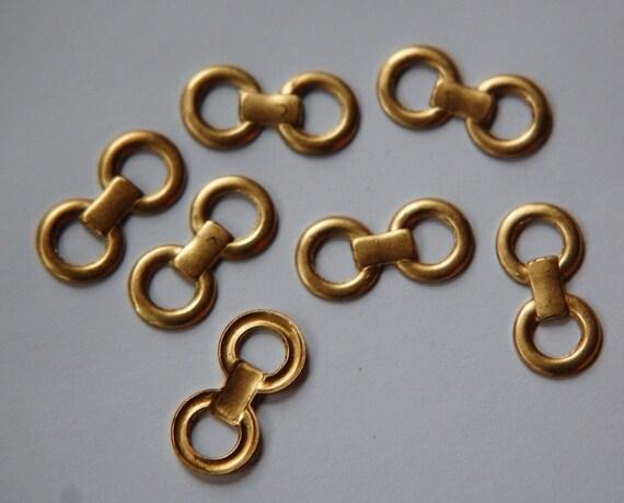 Raw Brass Link Look Ring Connectors Drops mtl288
