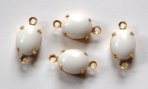 Vintage Opaque White Oval Stones in 2 Loop Brass Setting ovl005G2