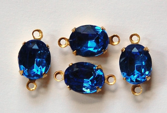 Faceted Sapphire Glass Oval Stones in 2 Loop Brass Connector Setting 10mmx8mm (4)  ovl005J2