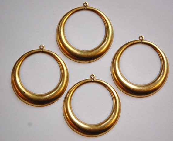 2 Hole Raw Brass Large Hoop Pendant Drop (4) mtl414A