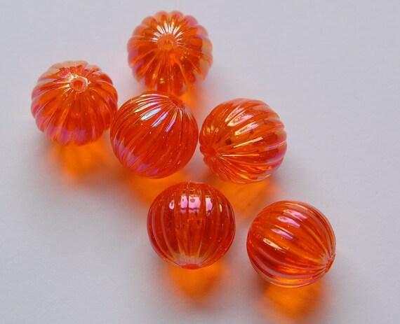 West Germany Vintage AB Hyacinth Orange Melon Beads 14mm cab799b