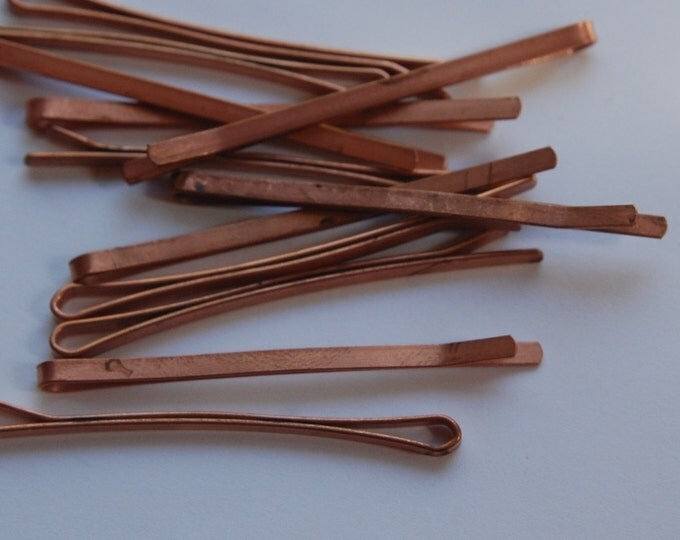 Vintage Copper Coated Bobby Pins Flat mtl119A