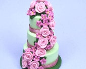Polymer clay Dollhouse miniature wedding cake pale green and pink dolls house miniature food