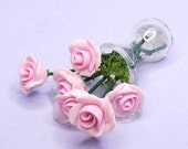 Vase of pink roses accidentally knocked over Dollhouse miniature flowers