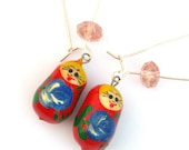 Red and champagne Babushka earrings