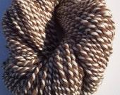Brown and white Handspun  wool yarn 138yds