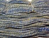 Primrose and White Handspun Wool Yarn 130yds 2ply