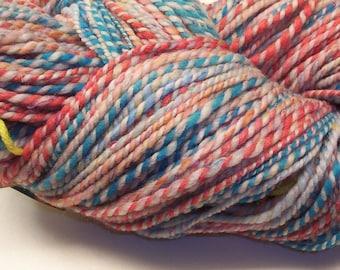 Multicolored handspun yarn 190yds 2ply