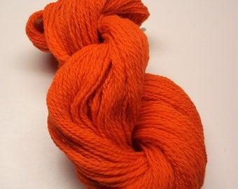 Orange Handspun Wool Yarn 230yds 2ply