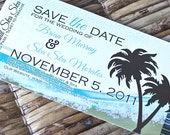 Boarding Pass Invitation or Save the Date Design Fee  (Abstract Beach Design)