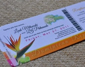 Boarding Pass Invitation or Save the Date Design Fee (Bird of Paradise Dominican Map Design)