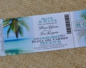 Boarding Pass Invitation or Save the Date Design Fee (Tropical Paradise Beach Design)