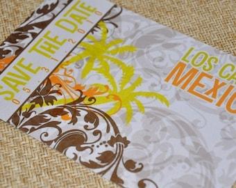 Save the Date Postcard - Palm Graphic Multi Flourish - Deposit and Design Fee
