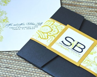 Pocket Fold Wedding Invitation Design Fee (Marigold Yellow and Navy Whimsy Design)