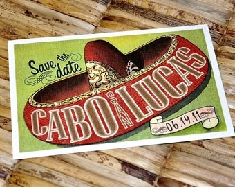 Save the Date Postcard - Vintage Mexico Sombrero - Deposit and Design Fee