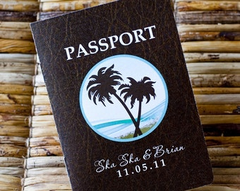 Save the Date Wedding Passport Design Fee (Faux Leather-Look Cover with Palm Tree / Beach Design)