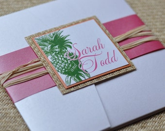 Pocket Fold Wedding Invitation Design Fee (Tropical Pineapple Design with Japanese Cane and Raffia )