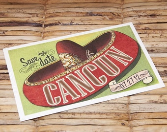 Save the Date Postcard - Cancun Vintage Mexico Sombrero - Deposit and Design Fee