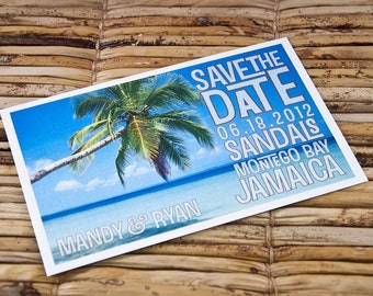 Save the Date Postcard - Cerulean Tropics - Deposit and Design Fee