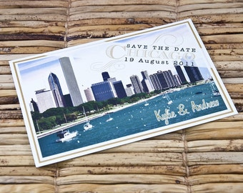 Save the Date Postcard - Chicago Shoreline - Deposit and Design Fee