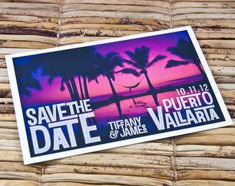 Save the Date Postcard - Fuchsia Sunset - Deposit and Design Fee