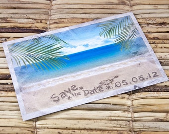 Save the Date Postcard - Initials in the Sand - Deposit and Design Fee
