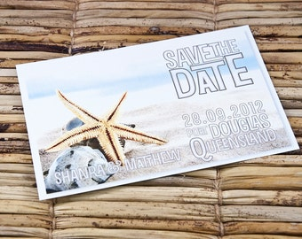 Save the Date Postcard - Starfish and White Sand Beach - Deposit and Design Fee