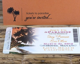 Boarding Pass Invitation or Save the Date Design Fee (Ombre Sunset Design)