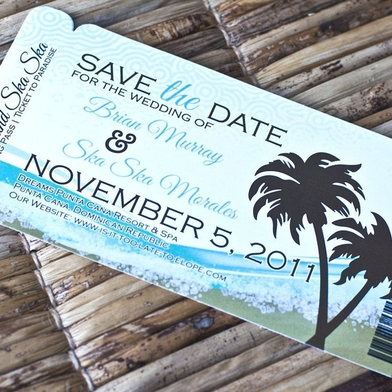 Boarding Pass Invitation or Save the Date Design Fee