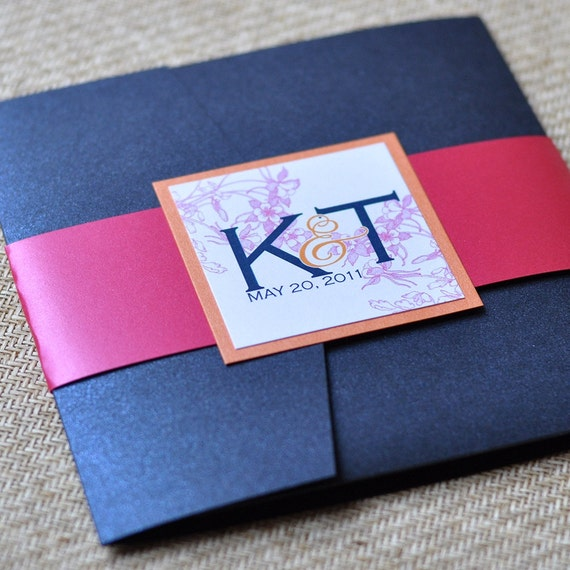 Pocket Fold Wedding Invitation Design Fee (Navy, Tangerine and Fuchsia Floral Design)