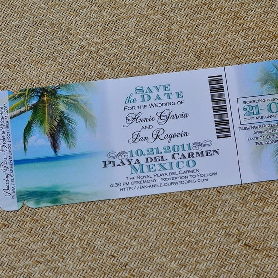 Boarding Pass Invitation Or Save The Date Design Fee Tropical
