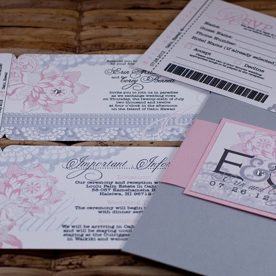 Boarding Pass Invitation or Save the Date Design Fee (Pink and Silver Lace Flowers)
