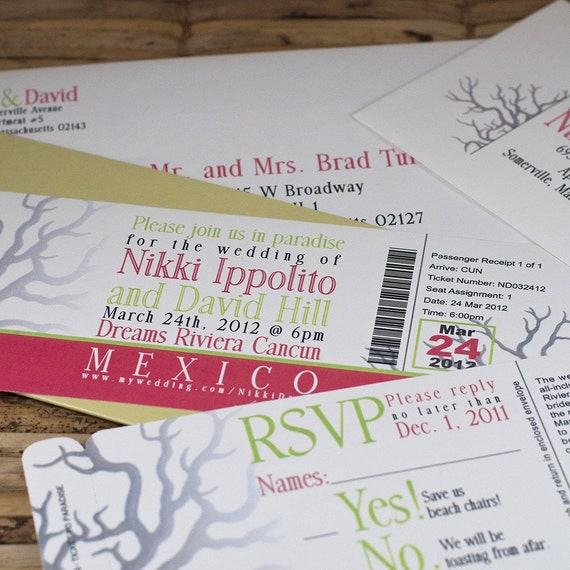 Boarding Pass Invitation or Save the Date Design Fee (Modern Coral and Lime)