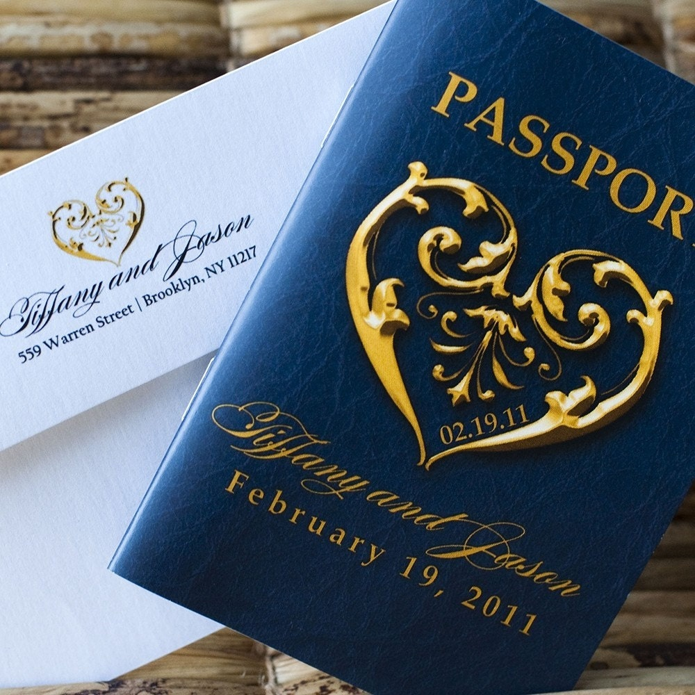 Deposit Passport Invitation or Save the Date Romantic Heart