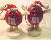 M and M's CANDY Collectibles--Christmas tree decorations from 1988--A pair--Just Adorable