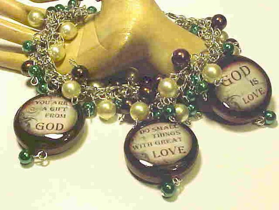 On Sale--Lovely, Inspirational Charm Bracelet--Handmade--God is Love, You are a Gift from God--Lovely quotes on Beads--Ooak