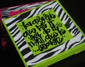 Mae West quote on painted stretch canvas