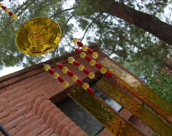 Yellow Red Stained Glass Windchime Suncatcher