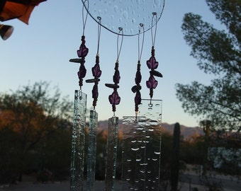 Amethyst Leaves Glass Windchime